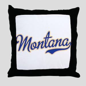 Montana Script Font Blue Throw Pillow