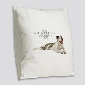 American Bulldog Burlap Throw Pillow