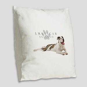 American Bulldog Burlap Throw Pillow