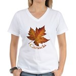 Canada Maple Leaf Souvenir Women's V-Neck T-Shirt