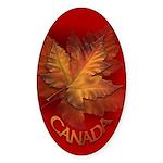 Canada Maple Leaf Souvenir Oval Sticker