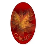 Canada Maple Leaf Souvenir Oval Sticker