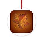 Canada Maple Leaf Souvenir Ornament (Round)