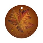 Canada Maple Leaf Souvenir Ornament (Round)