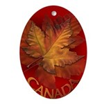 Canada Maple Leaf Souvenir Oval Ornament