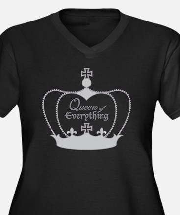 Cute Queen of everything Women's Plus Size V-Neck Dark T-Shirt
