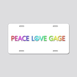 Peace Love Gage Aluminum License Plate
