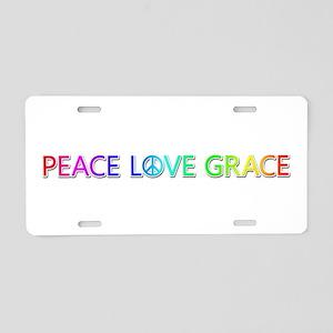 Peace Love Grace Aluminum License Plate