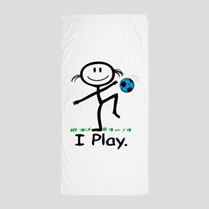 Soccer Girl Blue Beach Towel