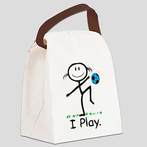 Soccer Girl Blue Canvas Lunch Bag