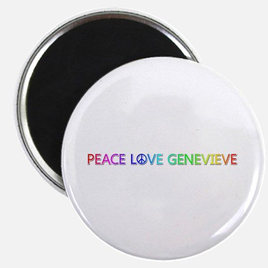 Peace Love Genevieve Round Magnet
