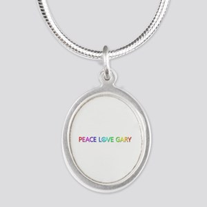 Peace Love Gary Silver Oval Necklace