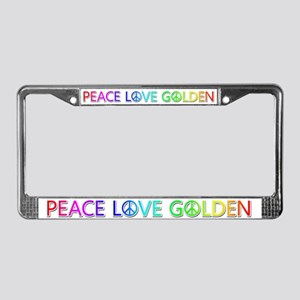 Peace Love Golden License Plate Frame