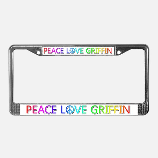 Peace Love Griffin License Plate Frame
