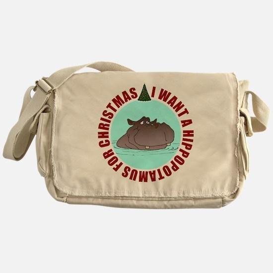 Hippo for Christmas Messenger Bag