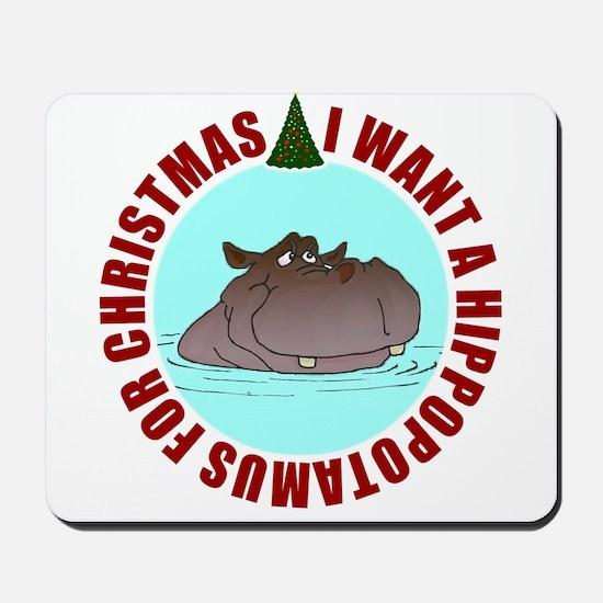 Hippo for Christmas Mousepad