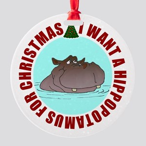 Hippo for Christmas Round Ornament