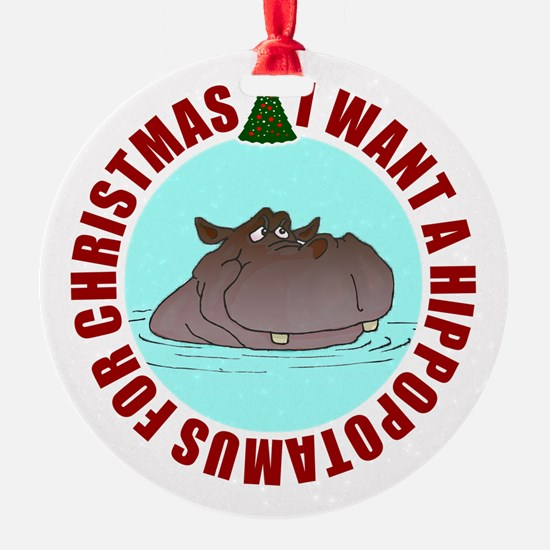 Hippo for Christmas Ornament