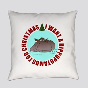 Hippo for Christmas Everyday Pillow