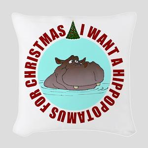 Hippo for Christmas Woven Throw Pillow