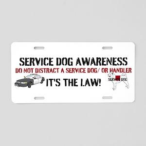 SERVICE DOG AWARENESS Aluminum License Plate