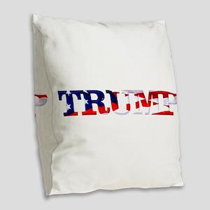 Trump - American Flag Burlap Throw Pillow
