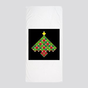 xmas quilt treesave gold black Beach Towel