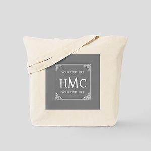 Classic Gray and White Frame Custom Monog Tote Bag