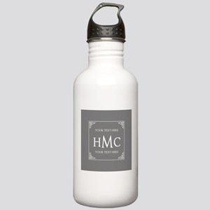 Classic Gray and White Stainless Water Bottle 1.0L