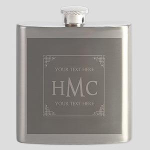 Classic Black and White Frame Custom Monogra Flask