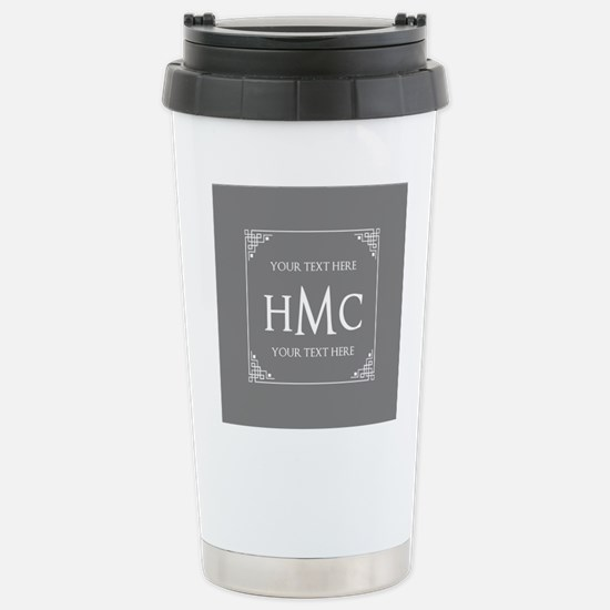 Classic Black and White Stainless Steel Travel Mug