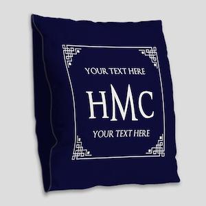 Vintage Frame Navy Blue Custom Burlap Throw Pillow