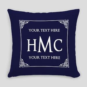 Vintage Frame Navy Blue Custom Mon Everyday Pillow