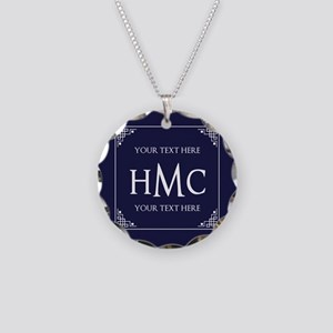 Vintage Frame Navy Blue Cust Necklace Circle Charm
