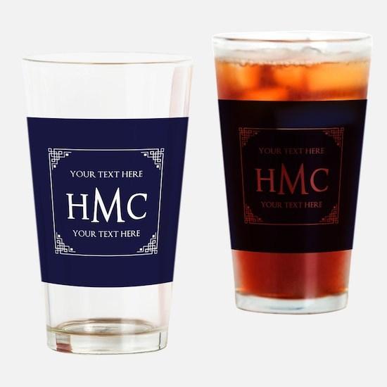 Vintage Frame Navy Blue Custom Mono Drinking Glass