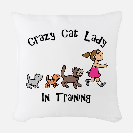 Crazy Cat Lady Trainee Woven Throw Pillow