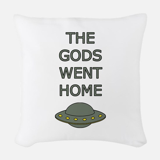 The Gods Went Home Woven Throw Pillow