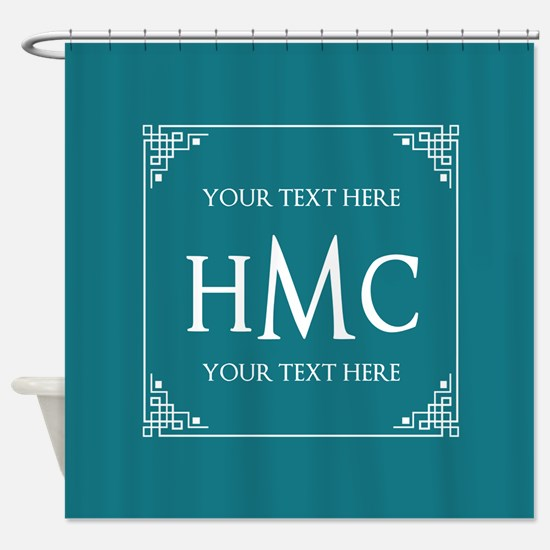 Personalized Name Monogram Teal Blu Shower Curtain