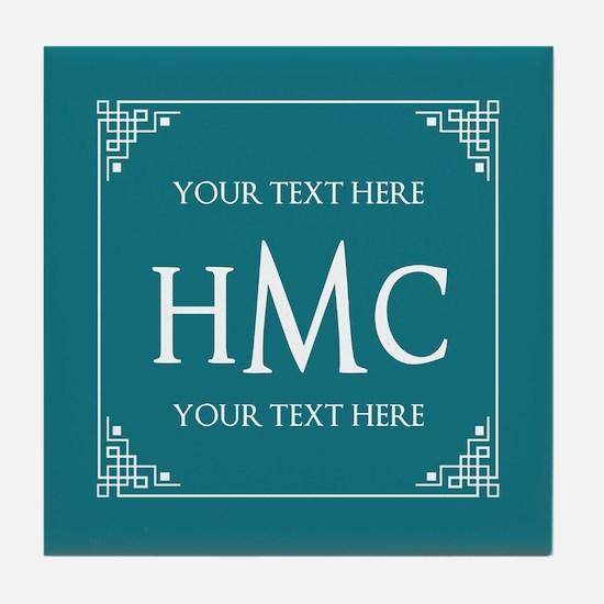Personalized Name Monogram Teal Blue Tile Coaster