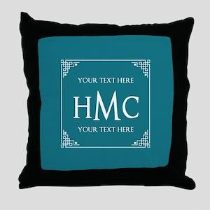 Personalized Name Monogram Teal Blue Throw Pillow