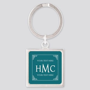 Personalized Name Monogram Teal Bl Square Keychain
