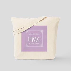 Lilac Vintage Frame Custom Monogram Tote Bag