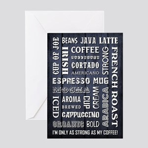 COFFEE WORDS Greeting Cards