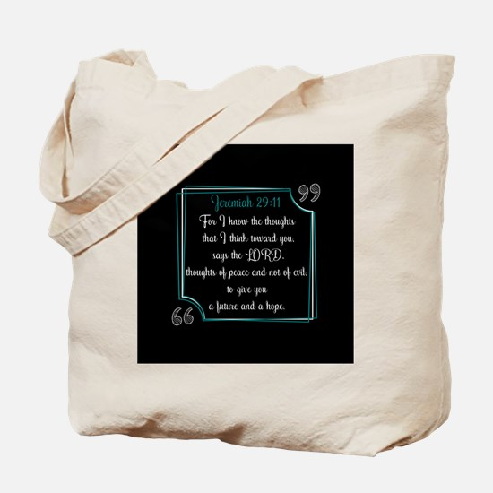 Bible Verse Quote Jeremiah 29:11 Tote Bag