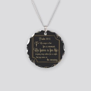 Bible Verse Gift Psalm 30:5 Necklace Circle Charm