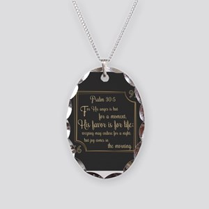 Bible Verse Gift Psalm 30:5 Necklace Oval Charm