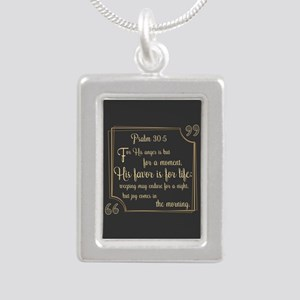 Bible Verse Gift Psalm 3 Silver Portrait Necklace