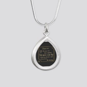 Bible Verse Gift Psalm 3 Silver Teardrop Necklace