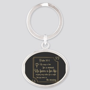 Bible Verse Gift Psalm 30:5 Oval Keychain