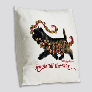 Jingle Cairn Terrier Burlap Throw Pillow